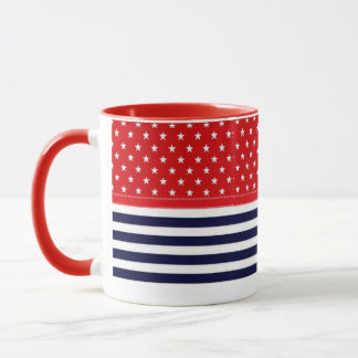 Red White and Blue with White Stars & Stripes Mug