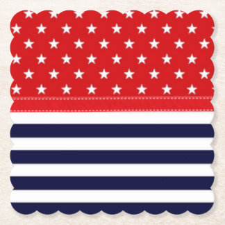 Red White and Blue with White Stars & Stripes Paper Coaster