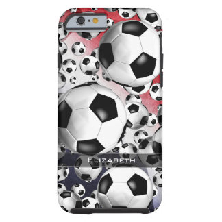 red white and blue women's soccer balls everywhere tough iPhone 6 case