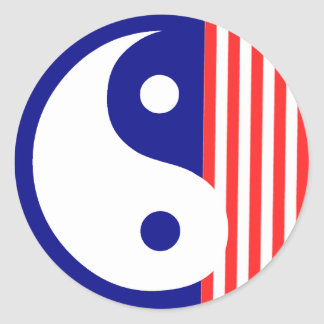 Red White and Blue Yin Yang Sticker