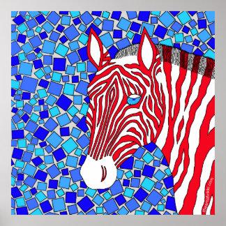 Red White And Blue Zebra Art 24 x 24 Print
