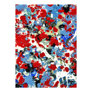 RED WHITE AND BLUES abstract art design Invitation