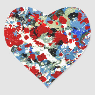 RED WHITE AND BLUES abstract art design Heart Sticker