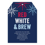 Red White and Brew Fourth of July 13 Cm X 18 Cm Invitation Card