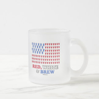 Red White and Brew Frosted Glass Mug