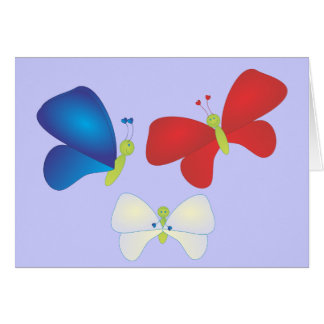 Red, White and Butterflies Card
