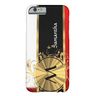 Red white and gold monogram barely there iPhone 6 case