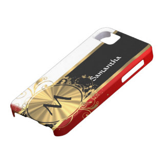 Red white and gold monogram iPhone 5 cover