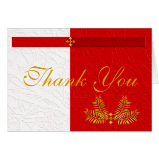 Red White and Gold Thank You with Palm Leaves Card