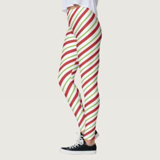 Red, white and green candy cane stripes leggings