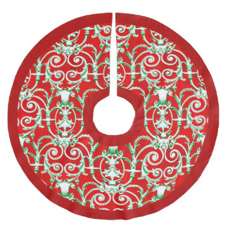 Red White and Green Damask Brushed Polyester Tree Skirt