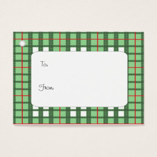 Red white and green plaid gift tag