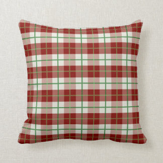 Red, white, and green plaid pillow