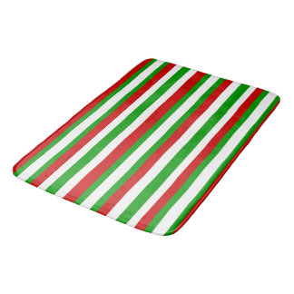Red, White and Green Stripes Bath Mat