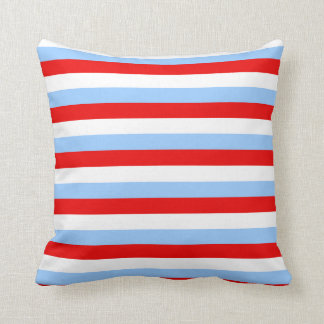 Red White and Light Blue Stripe Cushion