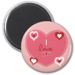 Red, White and Pink Hearts 6 Cm Round Magnet