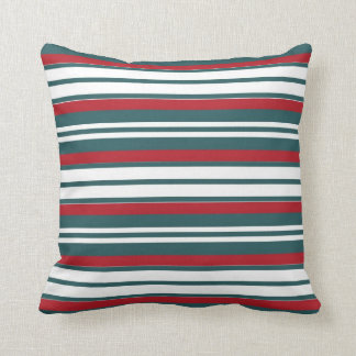 Red White And Turquoise Striped Mojo Pillow Throw Cushions