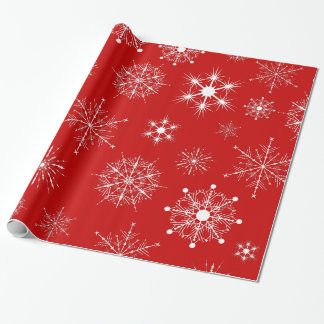 Red & White Assorted Christmas Snowflakes Pattern