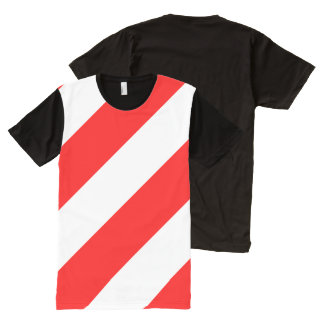 Red White Attention Warning Striping All-Over Print T-Shirt