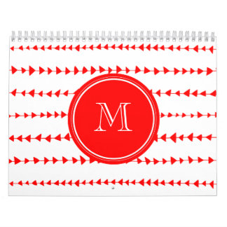 Red White Aztec Arrows Monogram Calendars