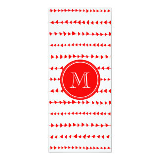 "Red White Aztec Arrows Monogram 4"" X 9.25"" Invitation Card"