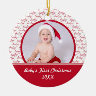 Red White Baby s First Christmas Photo Ornament