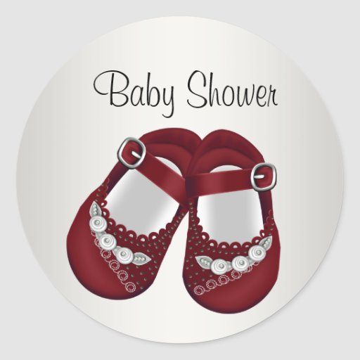 Red White Baby Shoes Baby Girl Shower Stickers