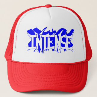Red/White Baseball Cap with Blue Intense Logo