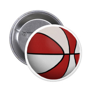 Red & White Basketball: 6 Cm Round Badge