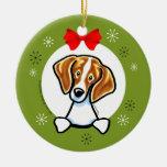 Red White Beagle Christmas Classic Round Ceramic Decoration