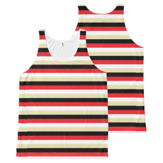 Red, White, Beige and Black Stripes All-Over Print Singlet