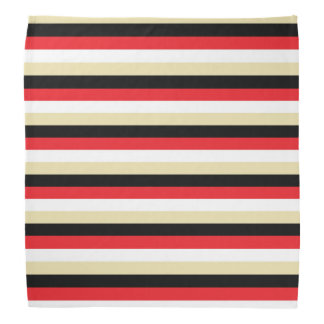 Red, White, Beige and Black Stripes Bandana