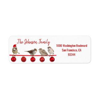Red White Birds Santa Hat Christmas Return Address Return Address Label