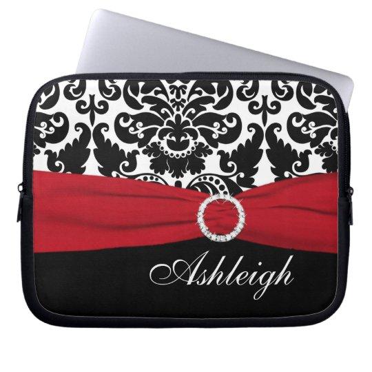 Red, White, Black Damask FAUX Ribbon Laptop Sleeve