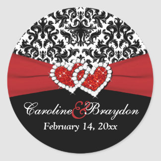 "Red White Black Damask, Hearts 1.5"" Round Sticker"