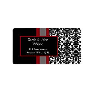 Red White Black Damask Wedding Invitations Address Label