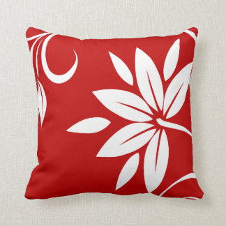 Red  White & Black Floral Throw Pillow