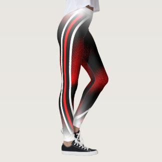 red+white+black leggings