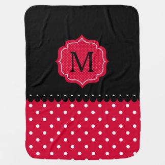 Red White Black Polka Dot Custom Monogram Design Baby Blanket
