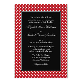 Red White Black Polka Dot Wedding Invitations