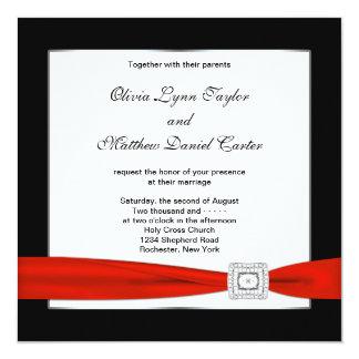 Red White Black Red Black Wedding 13 Cm X 13 Cm Square Invitation Card