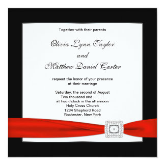 Red White Black Red Black Wedding Card