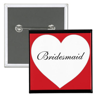 Red white black simple heart bridesmaid button