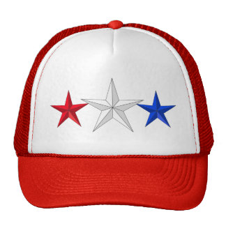 Red White & Blue 3D Stars 4th Of July Hat