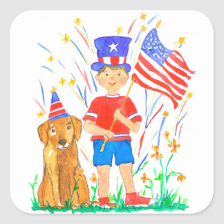 Red White Blue 4th of July Boy Square Sticker