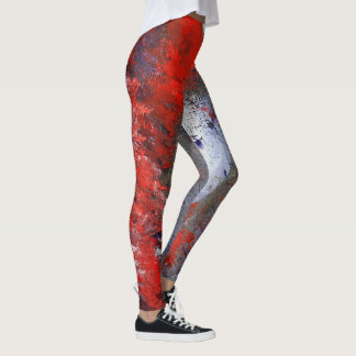 Red White Blue Abstract Leggings