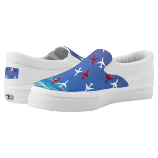 Red White Blue Airplane Slip On-Shoes US-Women's Printed Shoes