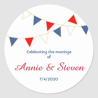 Red White & Blue America Bunting Wedding Sticker