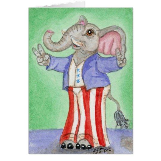 Red White & Blue American Elephant Art Card