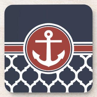 Red White Blue Anchor Moroccan Lattice Coaster